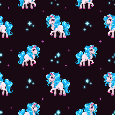 curly tail: Seamless pattern with cute white cartoon horse and sparkles on dark background
