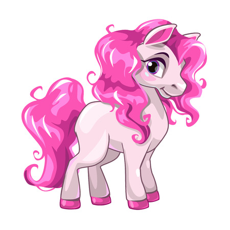 Cute cartoon little white baby horse with pink hair.