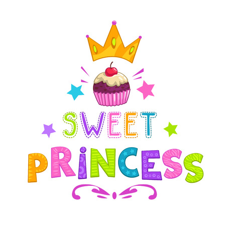 Sweet princess slogan, pretty fashion girlish illustration for t shirt design Vettoriali