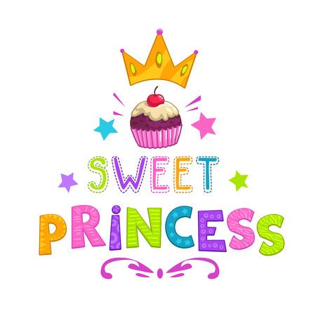princesa: lema de la princesa dulce, bastante ilustración de niña de moda para el diseño de la camiseta