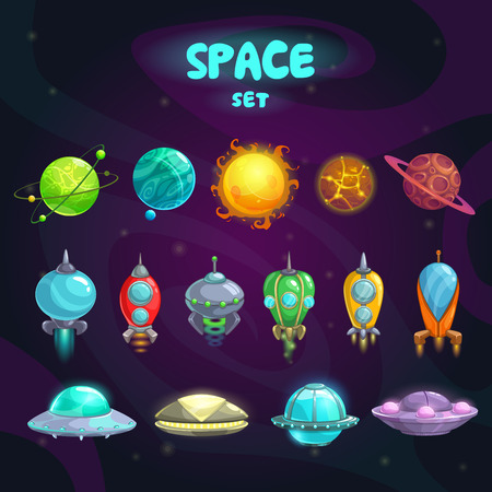 Space cartoon icons set. Planets, rockets, ufo elements on cosmic background