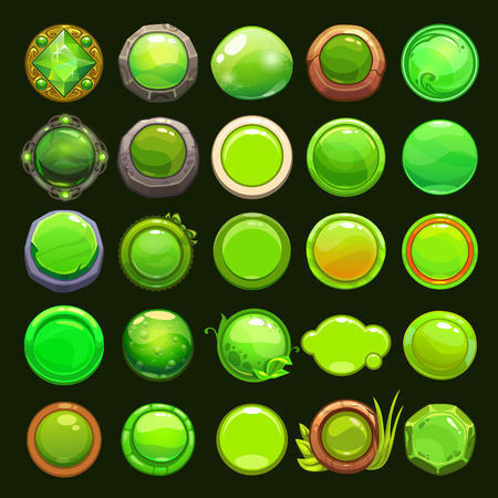 jelly: Funny cartoon green round buttons collection, vector assets for game or web design