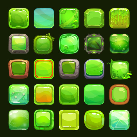 Jelly: Funny cartoon green square buttons collection, vector assets for game or web design