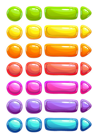 buttons: Funny cartoon colorful vector jelly buttons, GUI assets, isolated on white