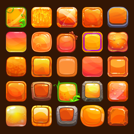 gems: Funny cartoon orange buttons collection, vector assets for game or web design Illustration