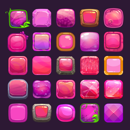Funny cartoon pink square buttons collection, vector assets for game or web design 向量圖像