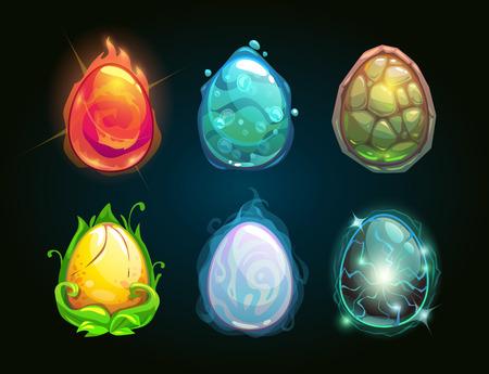 要素のアイコン、ドラゴンの卵セット、ベクトル イラスト  イラスト・ベクター素材