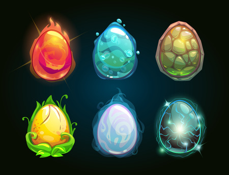Element icons, dragon eggs set, vector illustration Vectores