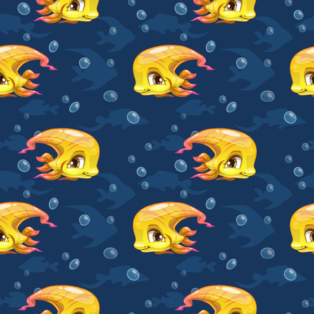 animals and pets: Seamless pattern with cute cartoon yellow girl fish, vector kids texture