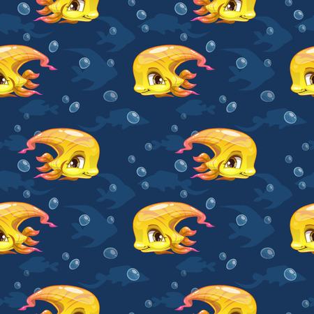 sea animals: Seamless pattern with cute cartoon yellow girl fish, vector kids texture