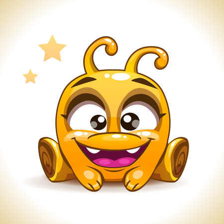 monster face: Funny cartoon sitting yellow alien monster character, kids vector illustration, isolated on white Illustration