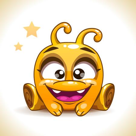 historieta divertida que se sienta amarillo carácter monstruo extraterrestre, los niños ilustración vectorial, aislado en blanco