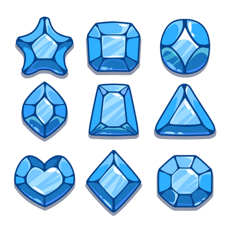 saphire: Cartoon blue different shapes gems set, game ui assets,  isolated on white