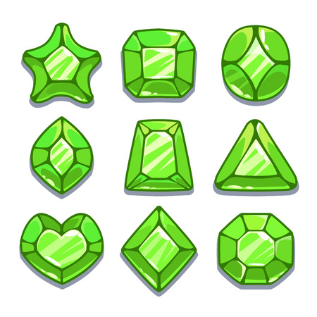 saphire: Cartoon green different shapes gems set, game ui assets,  isolated on white