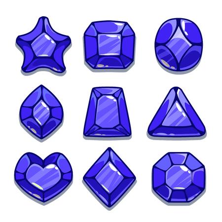 azul marino: Dibujos animados diferentes formas gemas conjunto, los activos ui azul marino juego, aislado en blanco