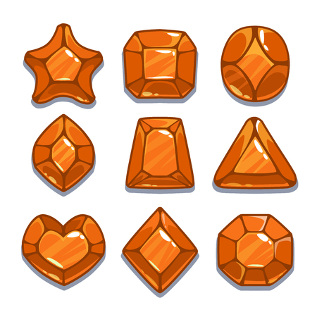 saphire: Cartoon orange different shapes gem set, game ui assets,  isolated on white