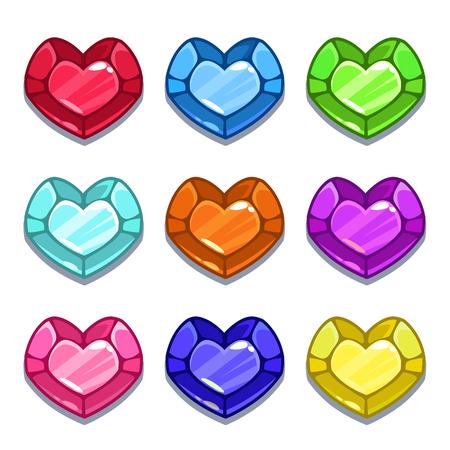 Funny cartoon colorful heart shape gems set
