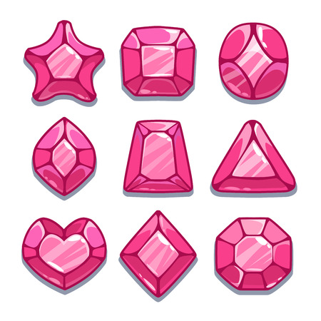 Cartoon pink different shapes gems set, game ui assets,  isolated on white