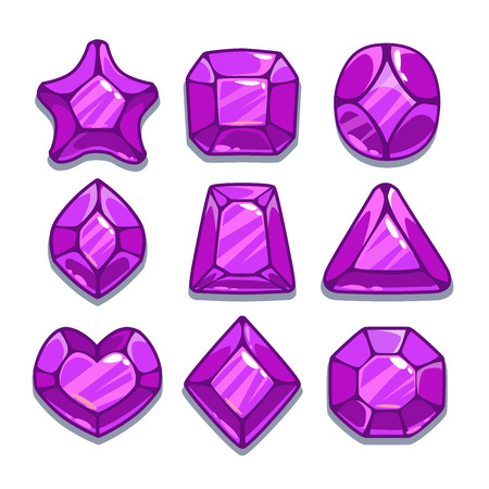 game icon: Cartoon purple different shapes gems set