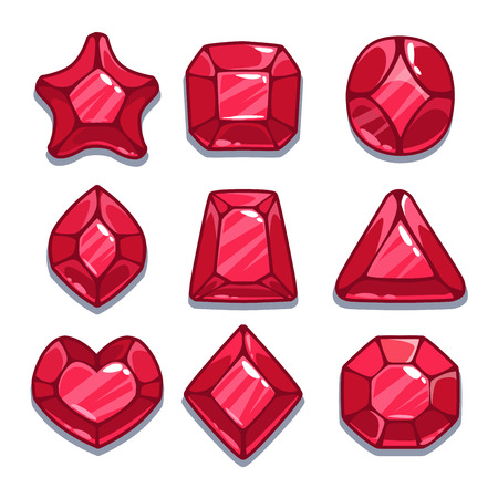 Cartoon red different shapes gems set Illustration