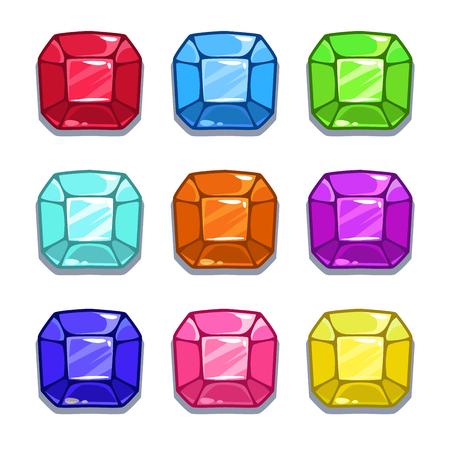Funny cartoon colorful gems set