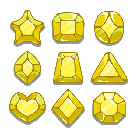Cartoon yellow different shapes gems set, game ui assets,  isolated on white