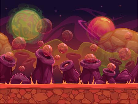 Refroidir un autre vecteur de monde fond transparent pour la conception du jeu, des couches séparées pour un effet de parallaxe, paysage extérieur planète extraterrestre dans des couleurs rouges