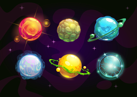 Elemental planets, fantasy space set, vector illustration Vettoriali