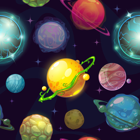wallpapers: Seamless space pattern with cartoon planets, childish vector space illustration, fantasy planets on space background, cool space wallpaper for kids design Illustration