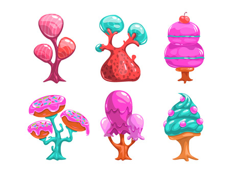 Cartoon sweet candy trees, fantasy nature landscape elements for game design, GUI assets, isolated on white