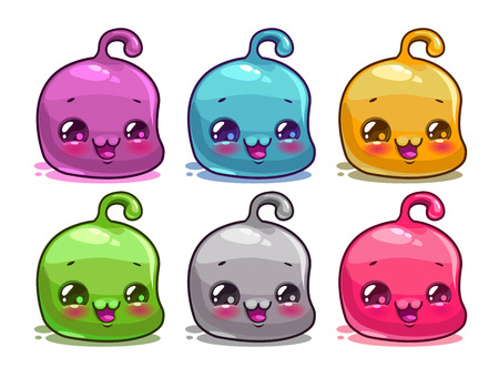 jelly head: Cute cartoon colorful characters set, funny jelly aliens,  isolated on white