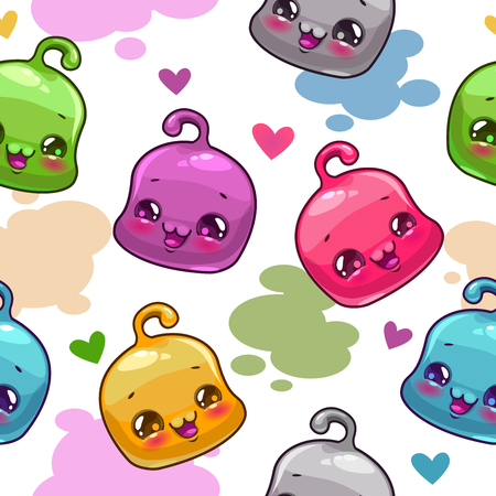 jelly head: Funny childish seamless pattern with little jelly characters, background