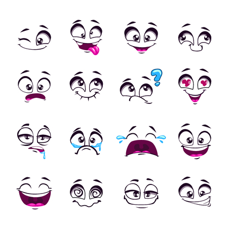 Set of funny cartoon comic faces, different emotions, isolated on white, design elements, different feelings avatars Vectores