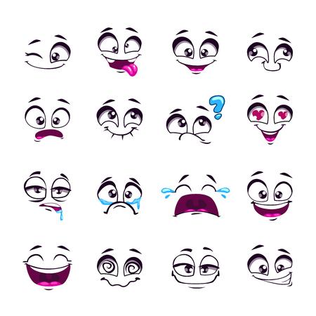 Ensemble de dessins animés drôles comiques visages, des émotions différentes, isolé sur blanc, des éléments de conception, différents sentiments avatars