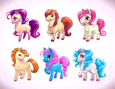 personajes de dibujos animados divertidos pony agrícolas, de niña caballos hermosos del bebé fijadas iconos, ilustración aislado en blanco, impresiones lindos para el diseño camiseta de los cabritos Ilustración de vector