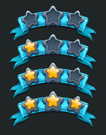 Cool cartoon game rating icons, level complete templates, stars rank on blue ribbon, assets for game design, GUI elements