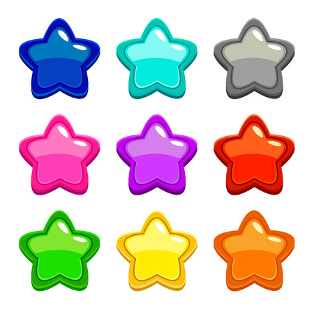 Colorful star icons, assets for web or game design, GUI elements, isolated on white Illustration