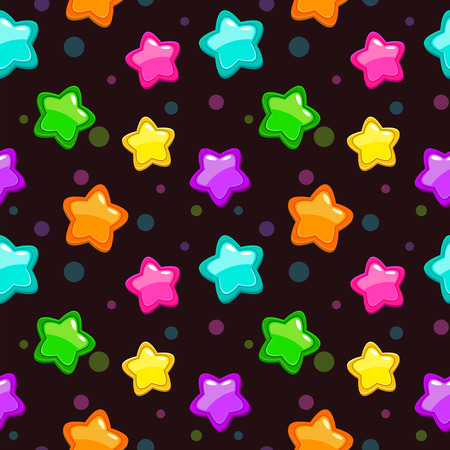 party night: Seamless pattern with colorful bright stars on dark background, texture Illustration