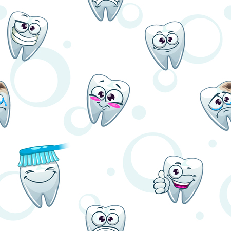 stomatology: Light dental texture with funny cartoon teeth characters on white, stomatology background, seamless pattern on medical subjects