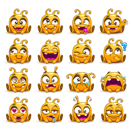 emot: Funny cartoon yellow alien character emoticons set, isolated on white, emotions stickers