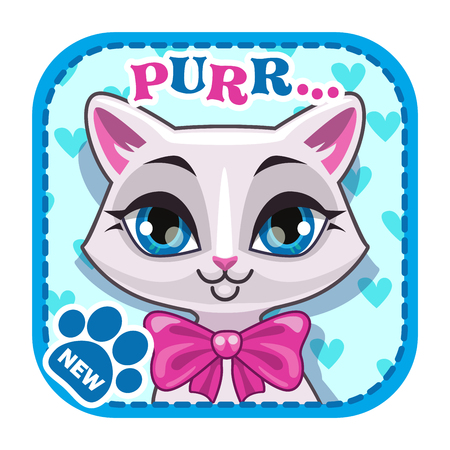 web store: App icon with cute white cat face, asset for web or game design, game application store element