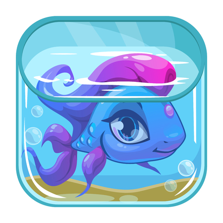 mobile application: Aquarium game app icon, beautiful fish in a square tank, vector application store icon on white background, cartoon GUI element