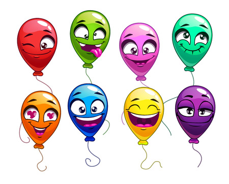 green face: Funny cartoon balloons with comic faces, cute bright balloon characters set, vector colorful balloons icons on white background