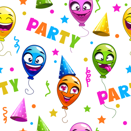 party cartoon: Funny seamless pattern with party decor elements on white background holiday texture with cartoon balloons Illustration