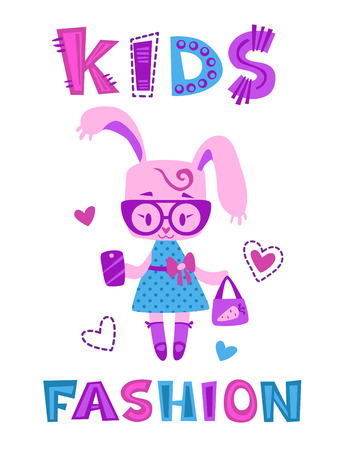 fancy bag: Funny fashion kids illustration, cute bunny girl with bag and phone, fancy girlish vector template for t shirt prints