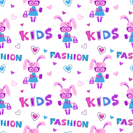 fancy bag: Funny fashion kids seamless pattern with cute little bunny girl with bag and phone on white background, fancy girlish vector template for textile print