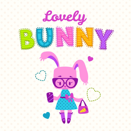 fancy bag: Cute girlish illustration, funny fashion kids print, cute bunny girl with bag and phone, fancy girlish vector template for t shirt prints