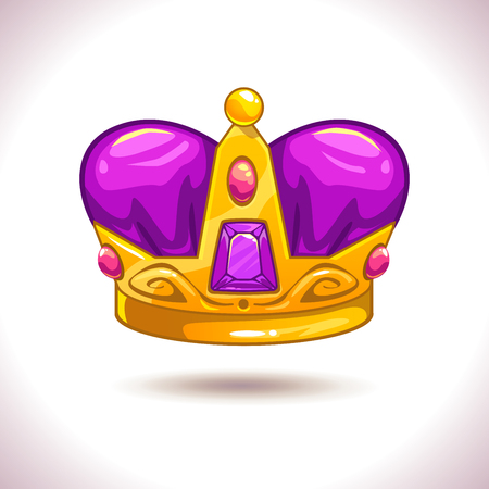 asset: Fancy cartoon vector golden crown icon, isolated on white, game trophy asset