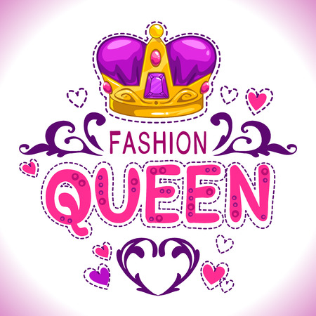 woman white shirt: Glamour vector girlish print with princess golden crown, fancy fashion queen lettering, vector template for girls t shirt design