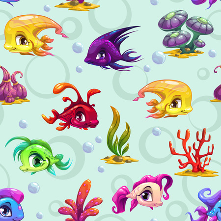 underwater fishes: Cute underwater seamless pattern with cartoon fishes and sea weeds texture Illustration